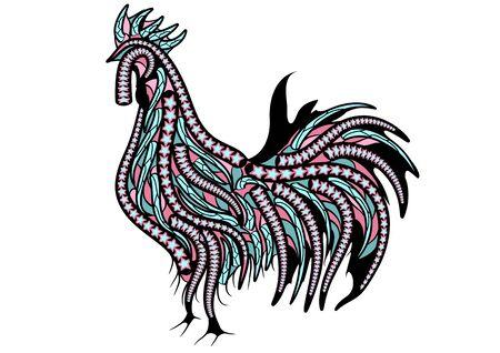 gallo étnica. silueta de aves aislado en un fondo blanco