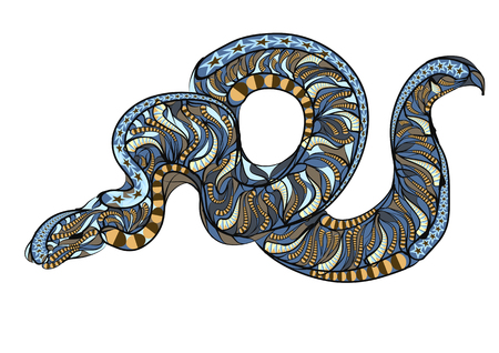 wriggle: ethnic royal python. abstract serpent on gray background