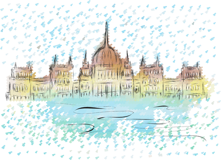 magyar: budapest parliament. abstract sketch of building on multicolor background