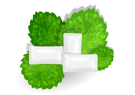 chewing: chewing gum with mint on white background