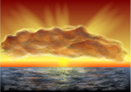 sunset clouds: horizon. majestic sunset, clouds and sea