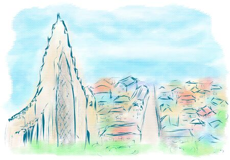 cathedrals: reykjavik. abstract view of iceland with sea and sky in the background Illustration