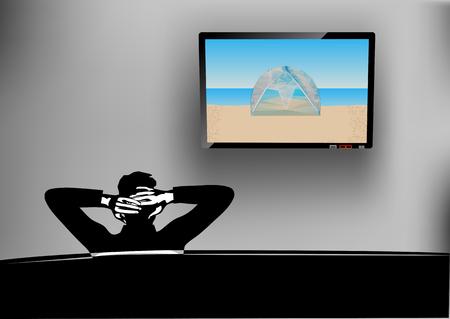 watching television: watching tv. man watching television at home