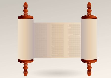 torah scroll: torah with abstract text. ancient scroll paper Illustration