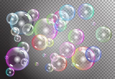 raibow: raibow bubbles on dark transparent background. vector soap water bubbles