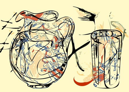 pitcher's: abstract pitcher. painting of still life with pitcher and glass
