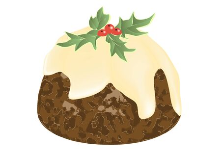 christmas pudding: christmas pudding isolayed on a white background