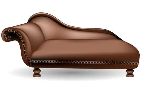 single seat: brown couch on white background.