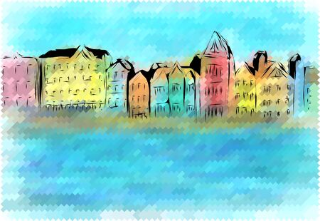 coastlines: curacao. abstract city on multicolor background Illustration