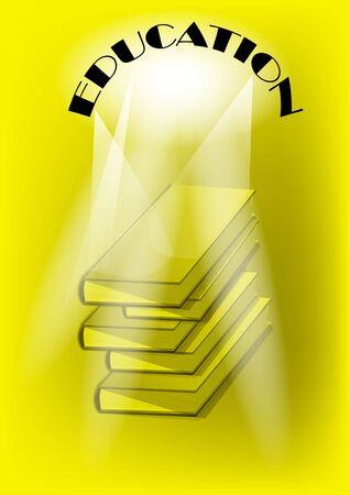 education. pile of books on yellow background Illustration