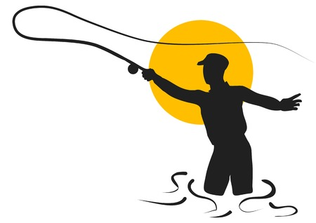 man fishing: fly fishing. silhouette of man isolated on white background Illustration