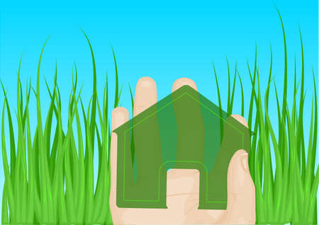 real people: home in hand fagain blue sky and green grass