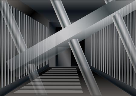 jail cell: prison bars. Jail or prison cell, gray concrete room Illustration