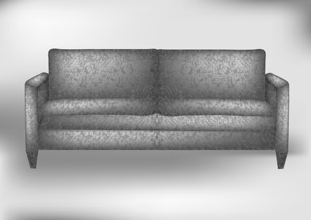 modern sofa: gray sofa. modern sofa in an interior room view Illustration