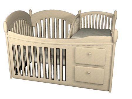 wooden crib 3d illustration isolated on white background