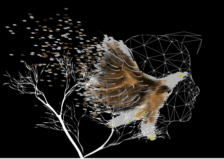 multiple exposure: double exposure. man and bird on black background with tree Illustration