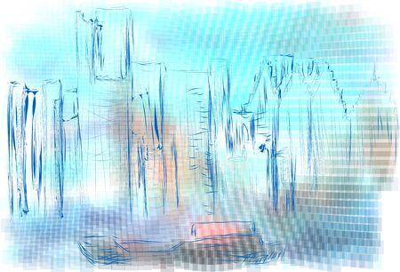 detroit: Detroit abstract illustration on multicolor background Illustration
