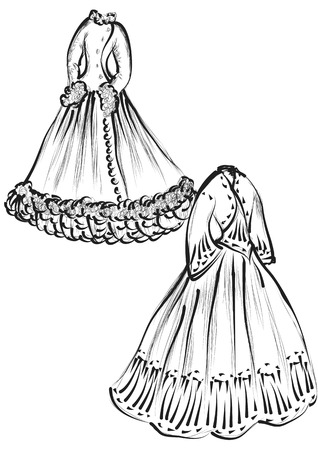 period costume: historical clothes isolated on a white background Illustration