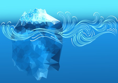 polar climate: abstract iceberg with decorative waves Illustration