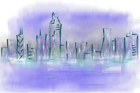 hong kong harbour: hong kong skyline. abstract illustraton on veknicolor background Illustration