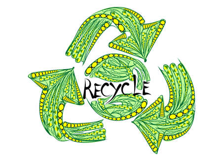 recycling sign: recycling sign isolated on a white background Illustration