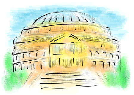 royal house: royal albert hall. abstract illustration on multicolor background Illustration
