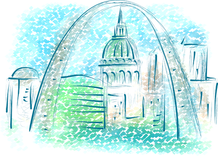 st louis: st louis. abstract illustration of city on multicolor background Illustration