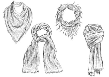 sciarpe: scarves isolated on white background