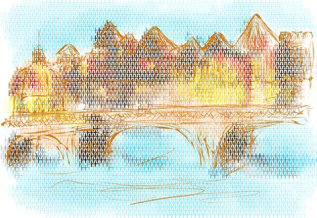 edifice: toulouse. abstract city on multicolor background Illustration