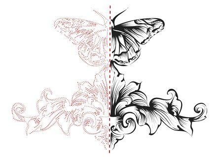 ornamento simetría con elementos étnicos y la mariposa
