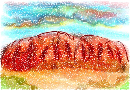 australia landscape: ayers rock. abstract illustration on multicolor background