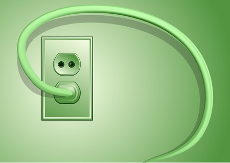electricity cable: electricity. plug and cable on green background