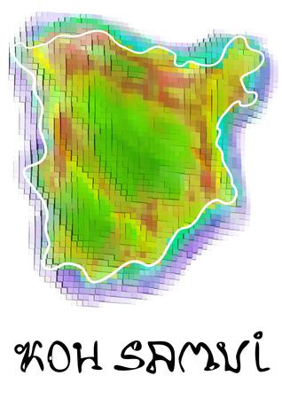 koh samui: koh samui. abstract map isolated on white background Illustration