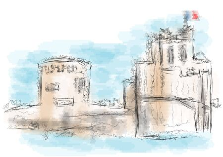 la: La Rochelle. abstract illustration on multicolor background