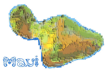 archipelago: maui abstract map isolated on white background