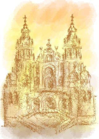 santiago: Santiago de Compostela. abstract illustration on multicolor background Illustration