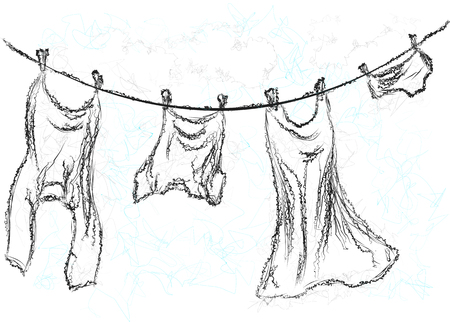 clothes hanging: washing line. Clothes hanging on a rope