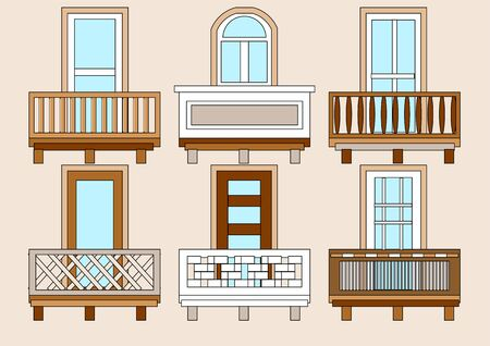 balcony window: balcony. set of classical  different balustres in flat color Illustration