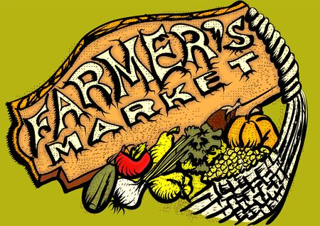 farmers market: farmers market inscription and abstract multicolor fruits