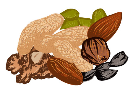 mixed nuts: dried fruit isolated on a white background