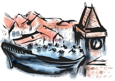 graz. abstract illustration of city on multicolor background