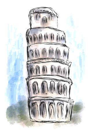 leaning tower of pisa: leaning tower of pisa on abstract multicolor background