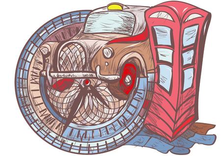 british touring car: london taxi. Flat modern vector illustration of London Illustration