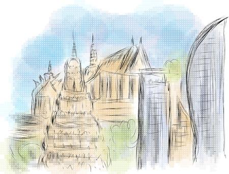 phnom penh: phnom penh abstract illustration on multicolor background Illustration