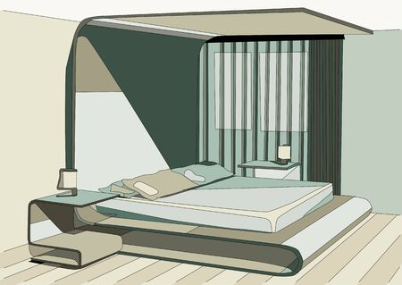 interior design: green bedroom abstract interior design.