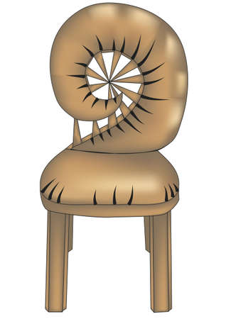 fashioned: designer chair with fashioned back on white background