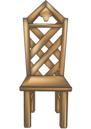 silla de madera: silla de diseño de madera con formó de nuevo en el fondo blanco Vectores