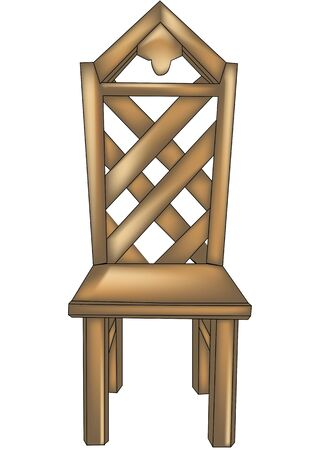 chair wooden: Wooden designer chair with fashioned back on white background