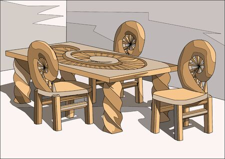wood chair: chairs and table. Interior design with large table and chairs Illustration