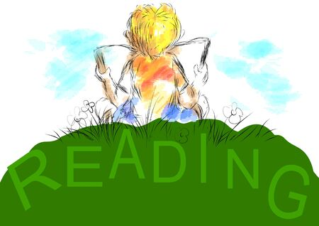 favorite book: reading. boy sits 0on grass and read your favorite book